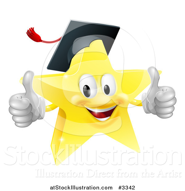 Vector Illustration of a 3d Star Graduate Mascot Holding Two Thumbs up
