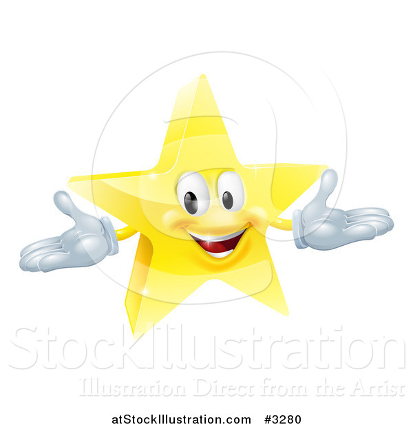Vector Illustration of a 3d Star Mascot