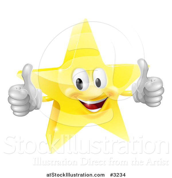 Vector Illustration of a 3d Star Mascot Holding Two Thumbs up