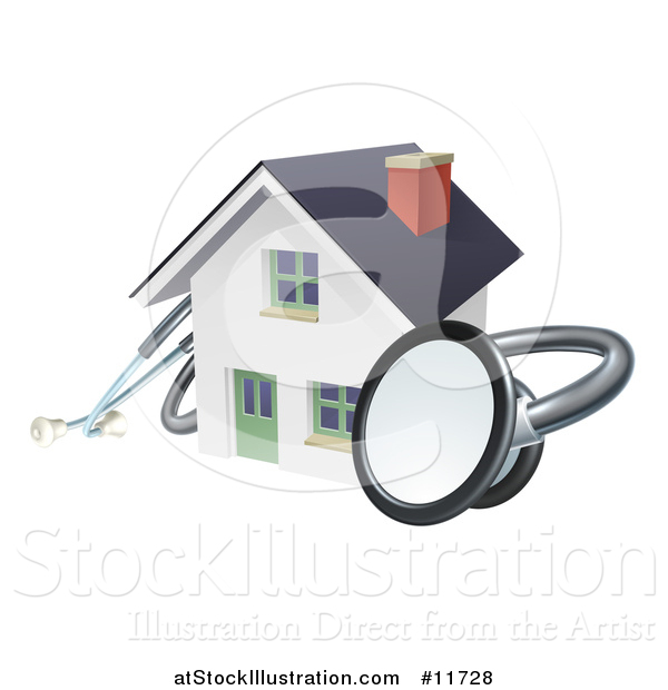 Vector Illustration of a 3d Stethoscope Around a White Home