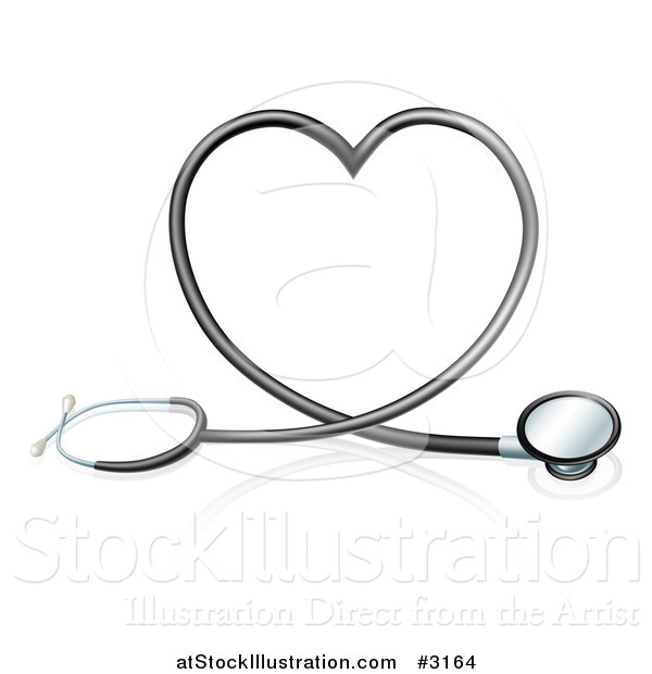 Vector Illustration of a 3d Stethoscope Forming a Heart