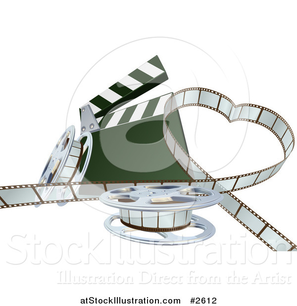 Vector Illustration of a 3d Strip of Movie Film in a Heart with a Clapper and Reels