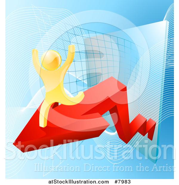 Vector Illustration of a 3d Successful Cheering Gold Man Running on a Red Arrow over Graphs on Blue