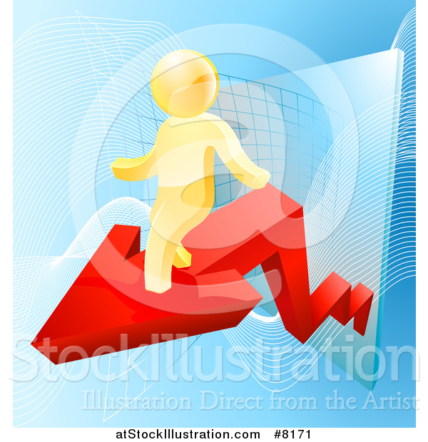 Vector Illustration of a 3d Successful Gold Man Walking on a Red Arrow over Graphs on Blue