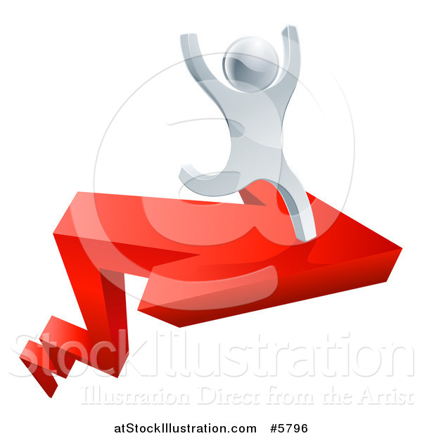 Vector Illustration of a 3d Successful Silver Man Cheering and Running on a Red Arrow