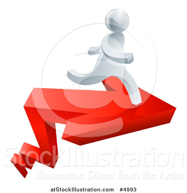 Vector Illustration of a 3d Successful Silver Man Running on a Red Arrow