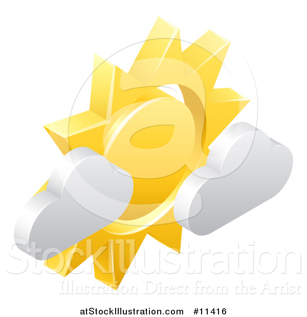 Vector Illustration of a 3d Sun and Cloud Weather Icon