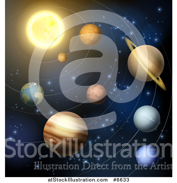 Vector Illustration of a 3d Sun and Solar System Planets