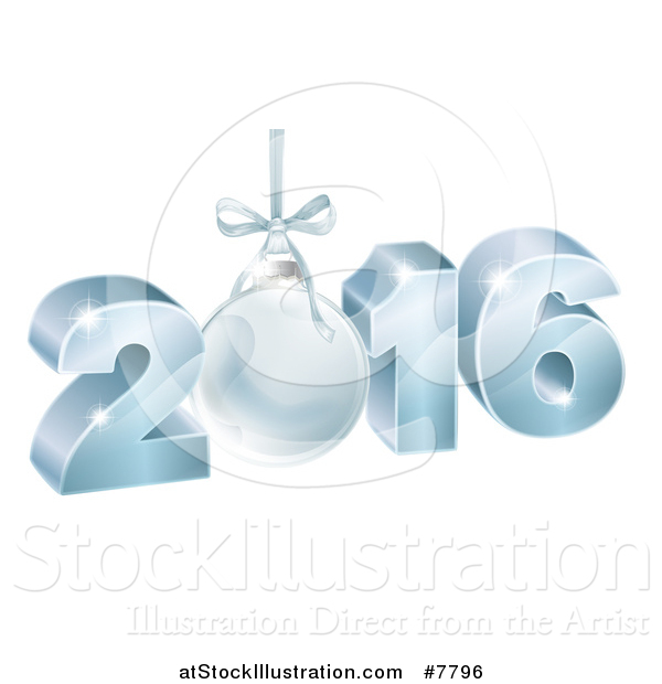 Vector Illustration of a 3d Suspended Blue 2016 for the New Year, with a Bauble