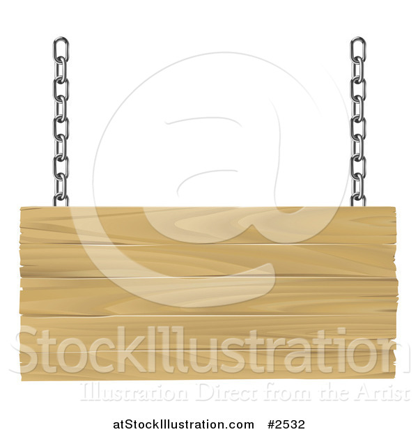 Vector Illustration of a 3d Suspended Wooden Sign with Silver Chains