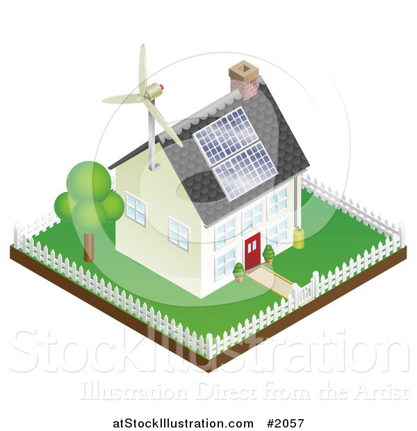 Vector Illustration of a 3d Sustainable Energy Home with Roof Solar Panels and a Wind Turbine