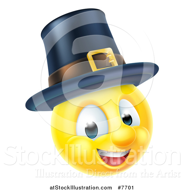 Vector Illustration of a 3d Thanksgiving Pilgrim Yellow Smiley Emoji Emoticon Face Wearing a Hat