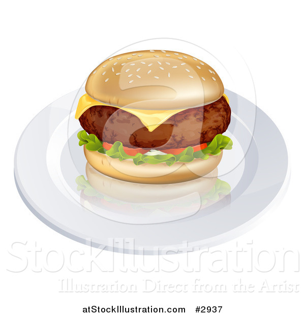 Vector Illustration of a 3d Thick Beef Meat Patty Cheeseburger on a Plate
