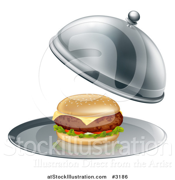Vector Illustration of a 3d Thick Cheeseburger on a Platter
