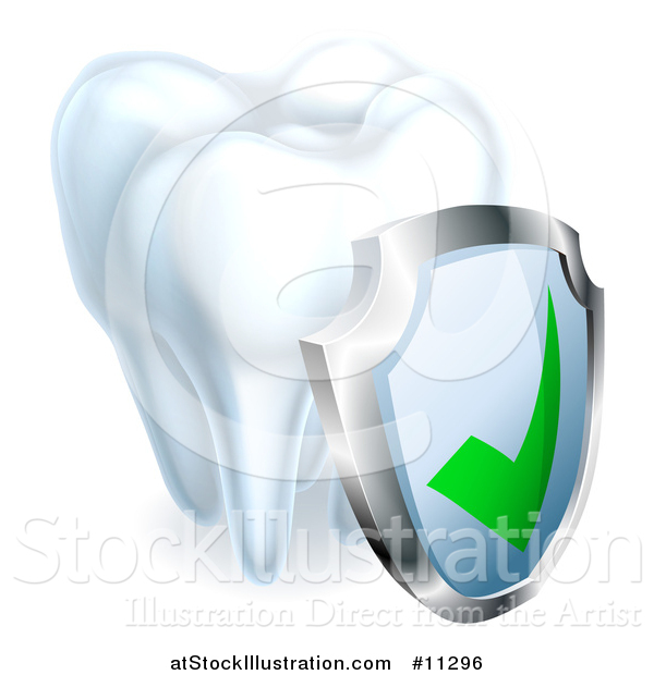 Vector Illustration of a 3d Tooth and Protective Dental Shield