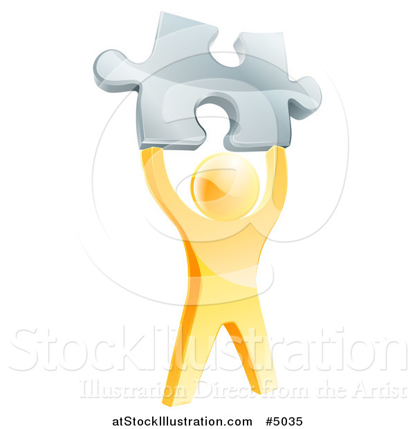 Vector Illustration of a 3d Victorious Gold Man Holding up a Silver Puzzle Piece