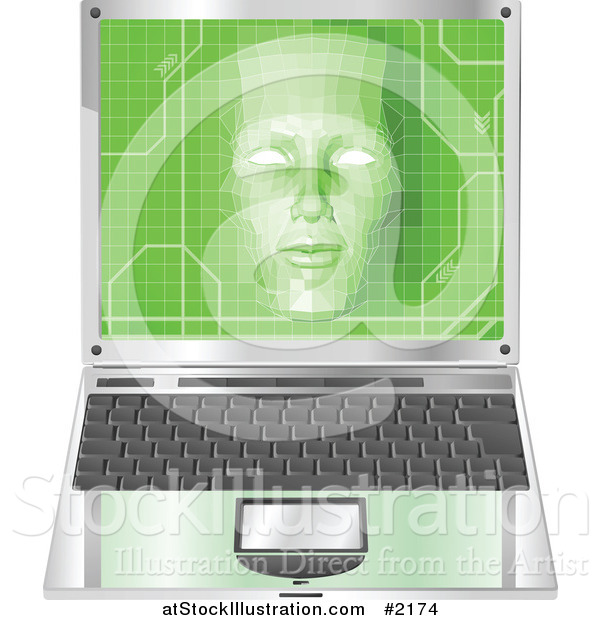 Vector Illustration of a 3d Virtual Face over a Laptop