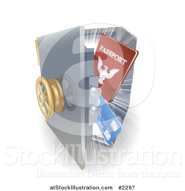 Vector Illustration of a 3d Visa and Passport in a Safe