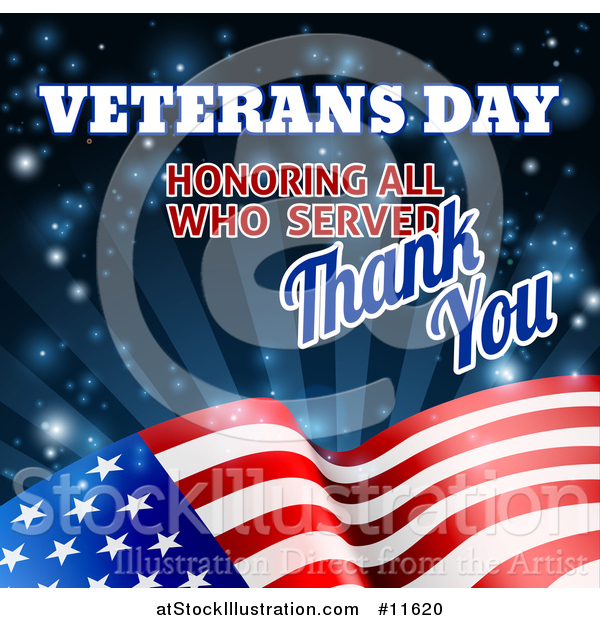 Vector Illustration of a 3d Waving American Flag with Veterans Day Honoring All Who Served Thank You Text and Blue Sparkles and Rays