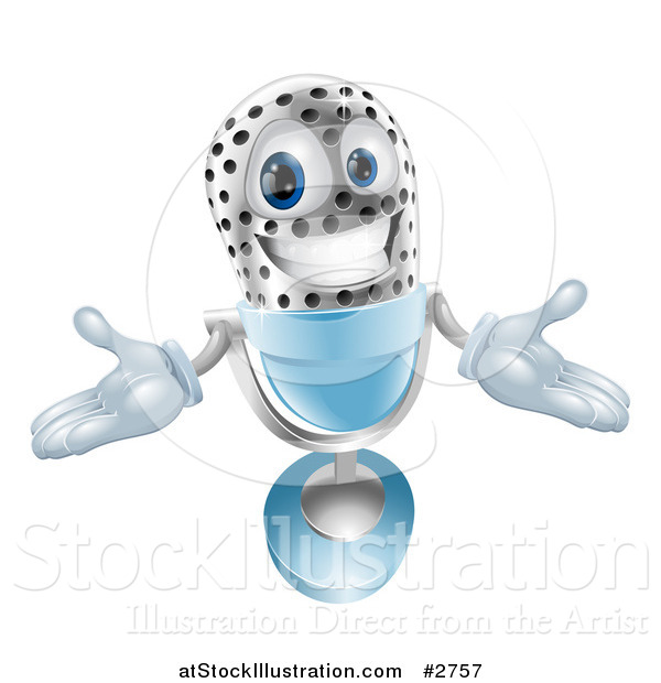 Vector Illustration of a 3d Welcoming Silver and Blue Microphone