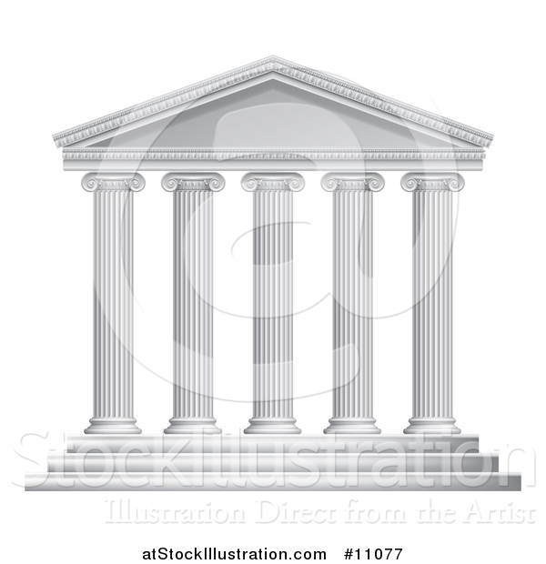 Vector Illustration of a 3d White Ancient Roman or Greek Temple with Pillars