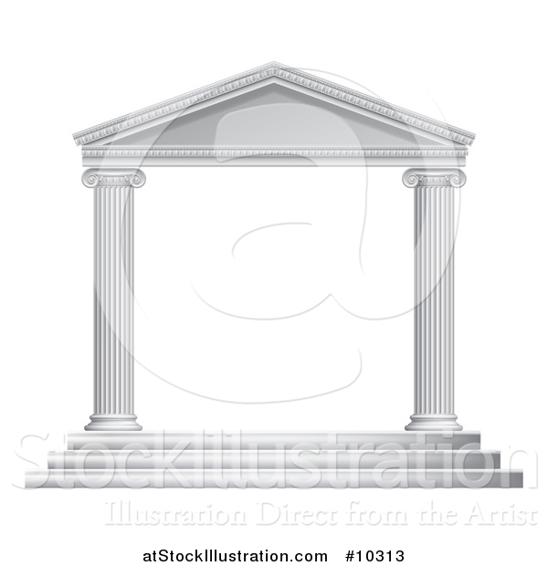 Vector Illustration of a 3d White Ancient Roman or Greek Temple with Pillars Frame