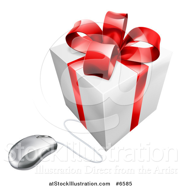 Vector Illustration of a 3d White and Red Gift Box Wired to a Computer Mouse