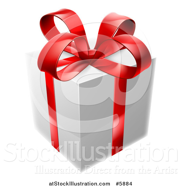 Vector Illustration of a 3d White Gift Box with a Red Bow