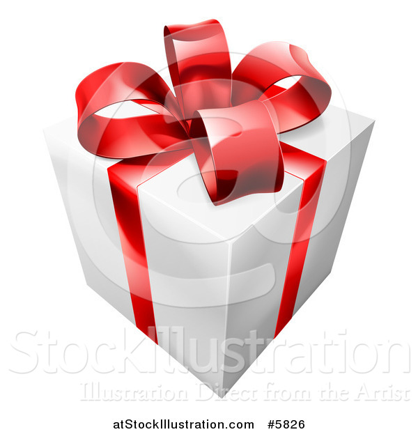 Vector Illustration of a 3d White Gift with a Red Ribbon and Bow