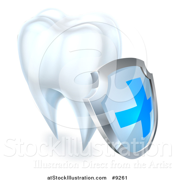 Vector Illustration of a 3d White Tooth with a Protective Dental Shield