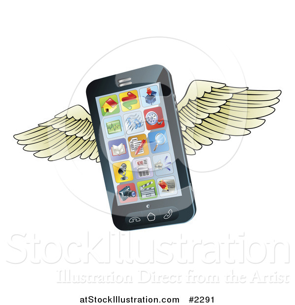 Vector Illustration of a 3d Winged Cell Phone