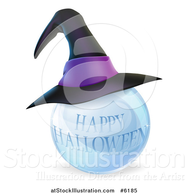 Vector Illustration of a 3d Witch Hat on a Happy Halloween Crystal Ball