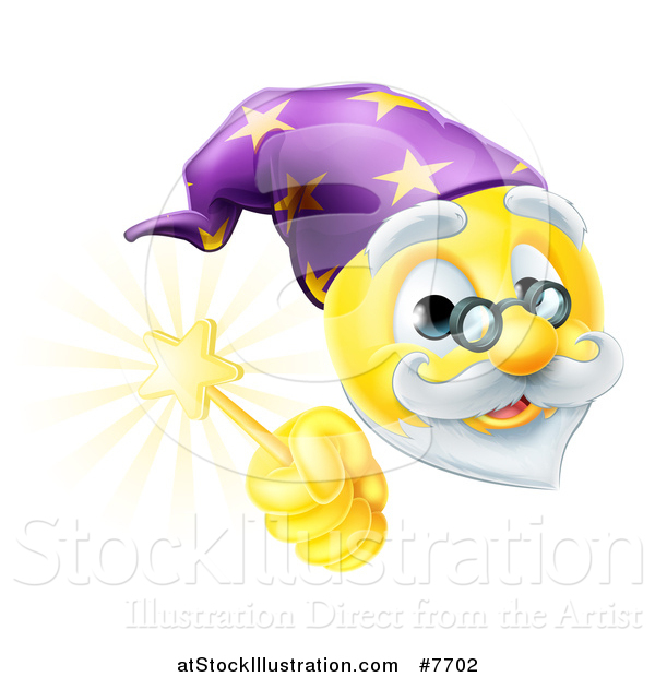 Vector Illustration of a 3d Wizard Yellow Smiley Emoji Emoticon Face Holding a Magic Wand