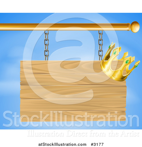 Vector Illustration of a 3d Wooden Shingle Sign with a Crown over a Blue Sky