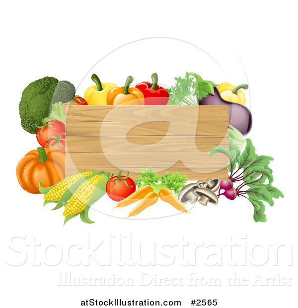 Vector Illustration of a 3d Wooden Sign with Fresh Veggies