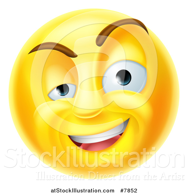 Vector Illustration of a 3d Yellow Charming Flirty Male Smiley Emoji Emoticon Face