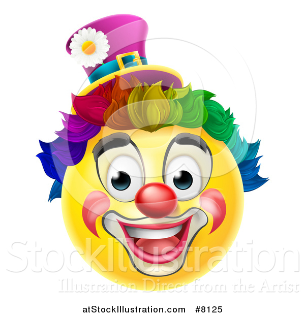 Vector Illustration of a 3d Yellow Clown Smiley Emoji Emoticon Face with a Rainbow Wig