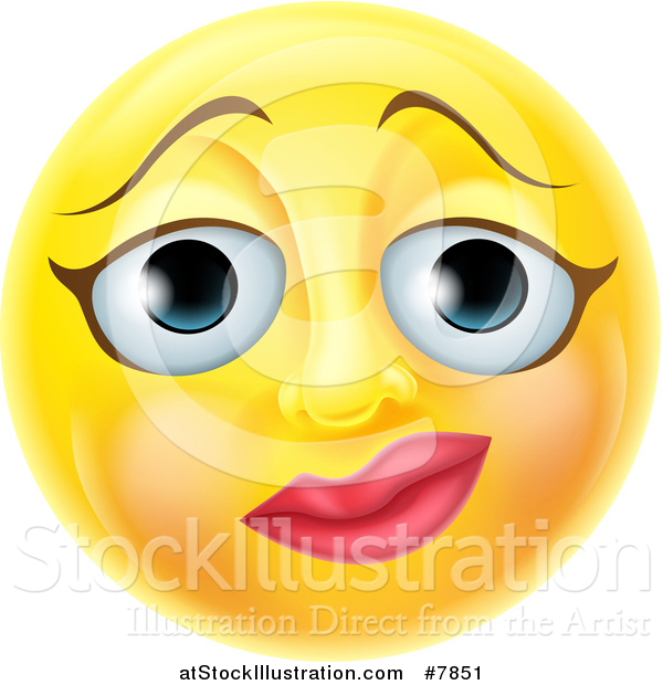 Vector Illustration of a 3d Yellow Female Smiley Emoji Emoticon Face with a Nervous Expression