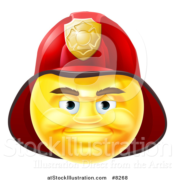 Vector Illustration of a 3d Yellow Male Fireman Smiley Emoji Emoticon Face Wearing a Helmet