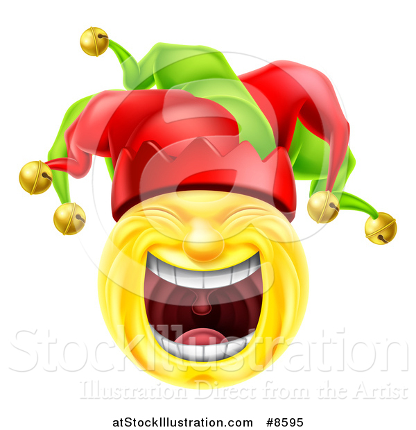 Vector Illustration of a 3d Yellow Male Smiley Emoji Emoticon Face Court Jester Laughing