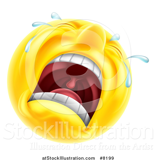Vector Illustration of a 3d Yellow Male Smiley Emoji Emoticon Face Crying
