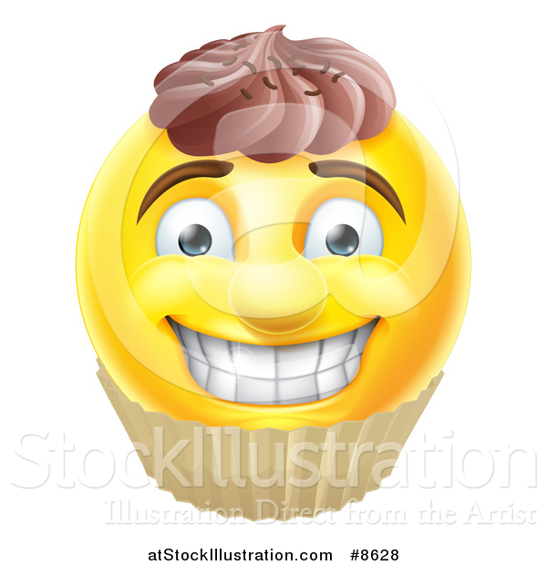 Vector Illustration of a 3d Yellow Male Smiley Emoji Emoticon Face Cupcake
