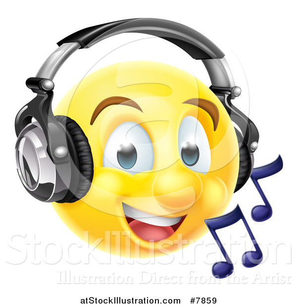 Vector Illustration of a 3d Yellow Male Smiley Emoji Emoticon Face Listening to Music Through Headphones