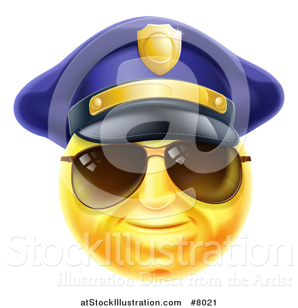 Vector Illustration of a 3d Yellow Male Smiley Emoji Emoticon Face Police Officer Wearing Sunglasses