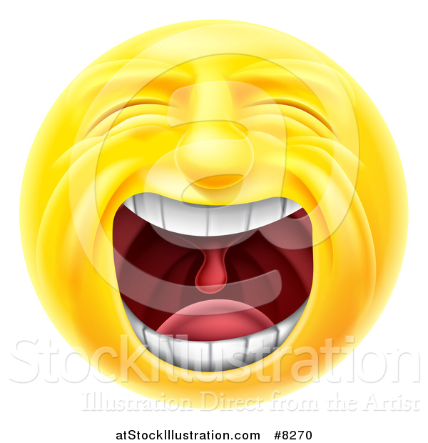 Vector Illustration of a 3d Yellow Male Smiley Emoji Emoticon Face Screaming