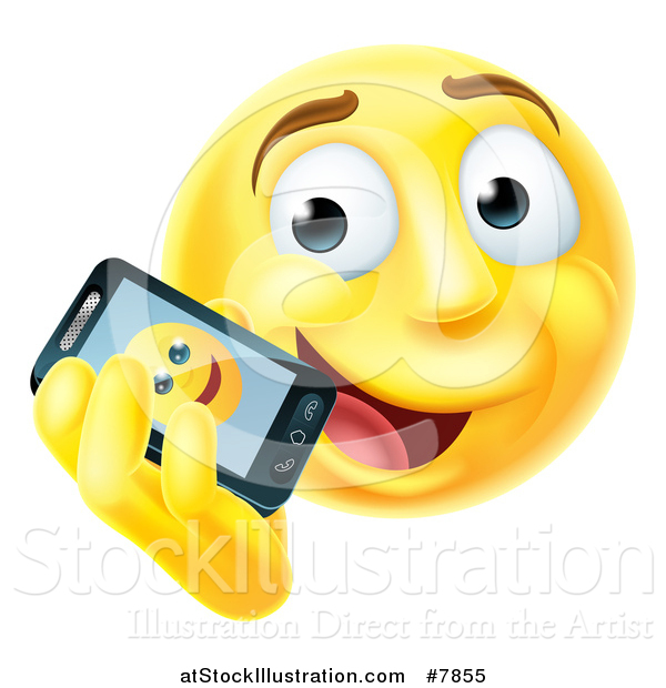 Vector Illustration of a 3d Yellow Male Smiley Emoji Emoticon Face Talking on a Smart Phone