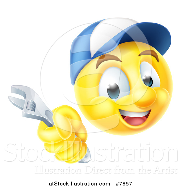 Vector Illustration of a 3d Yellow Male Smiley Emoji Emoticon Plumber or Mechanic Face Holding an Adjustable Wrench