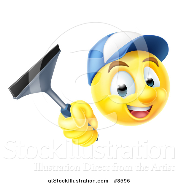 Vector Illustration of a 3d Yellow Male Smiley Emoji Emoticon Window Washer Holding a Squeegee