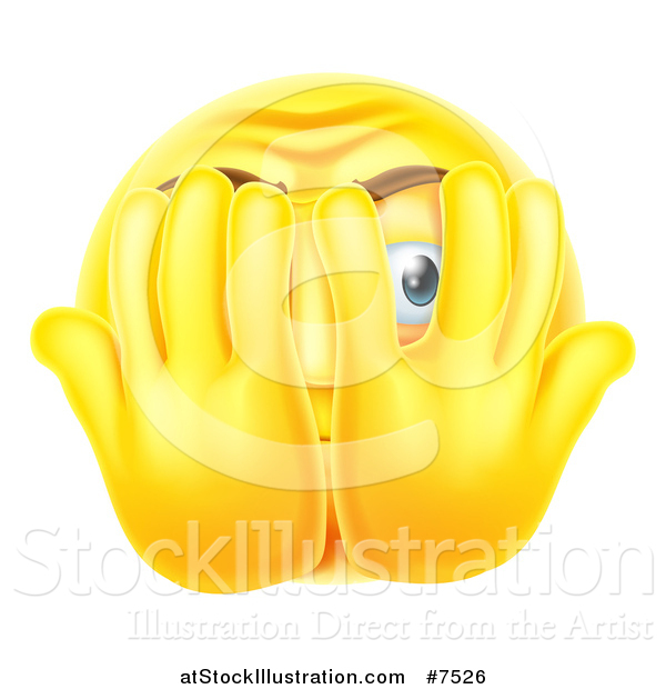 Vector Illustration of a 3d Yellow Smiley Emoji Emoticon Covering His Face and Peeking Through Fingers