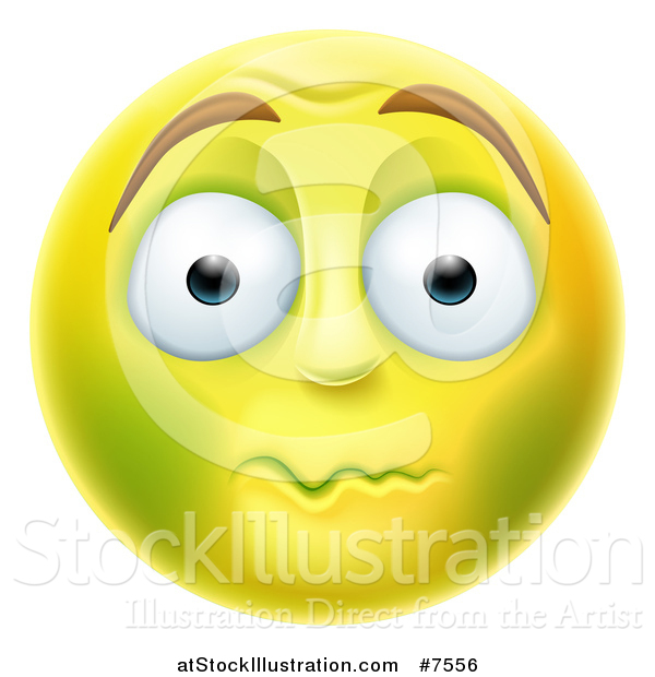 Vector Illustration of a 3d Yellow Smiley Emoji Emoticon Face About to Vomit
